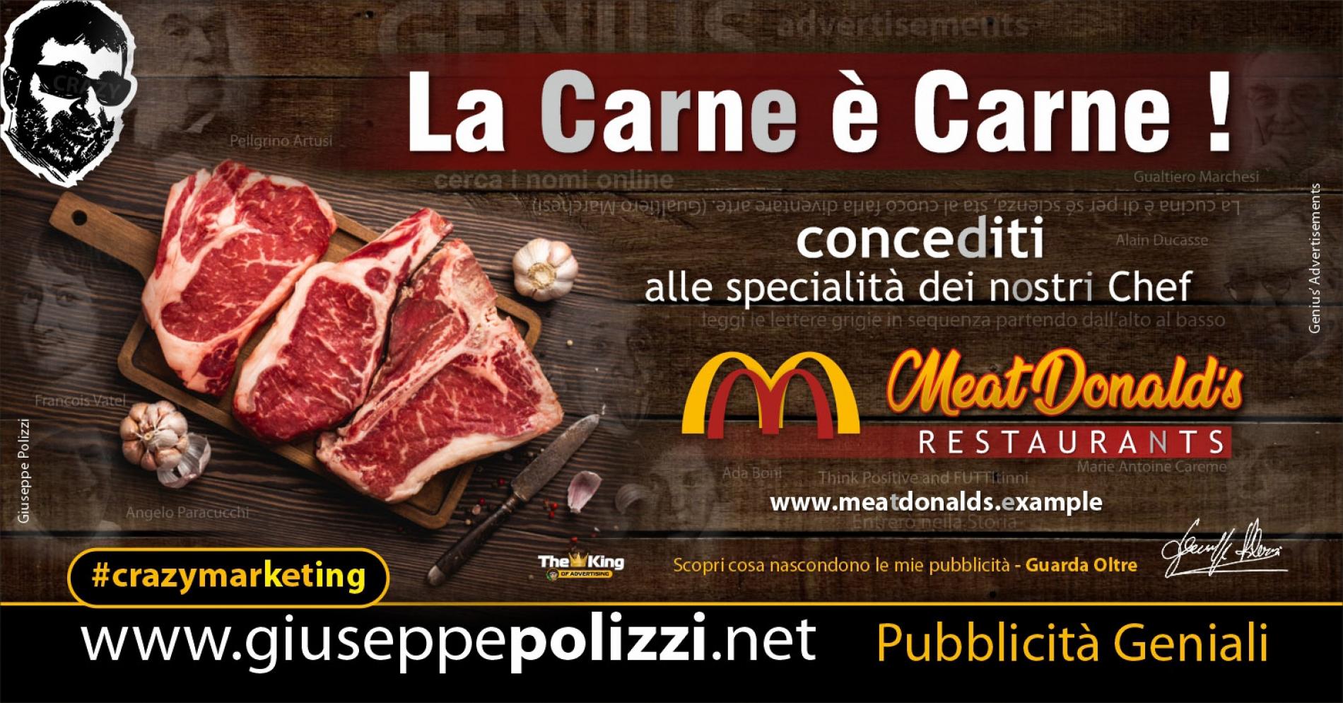 Giuseppe Polizzi crazymarketing La Carne è Carne pubblicità geniali