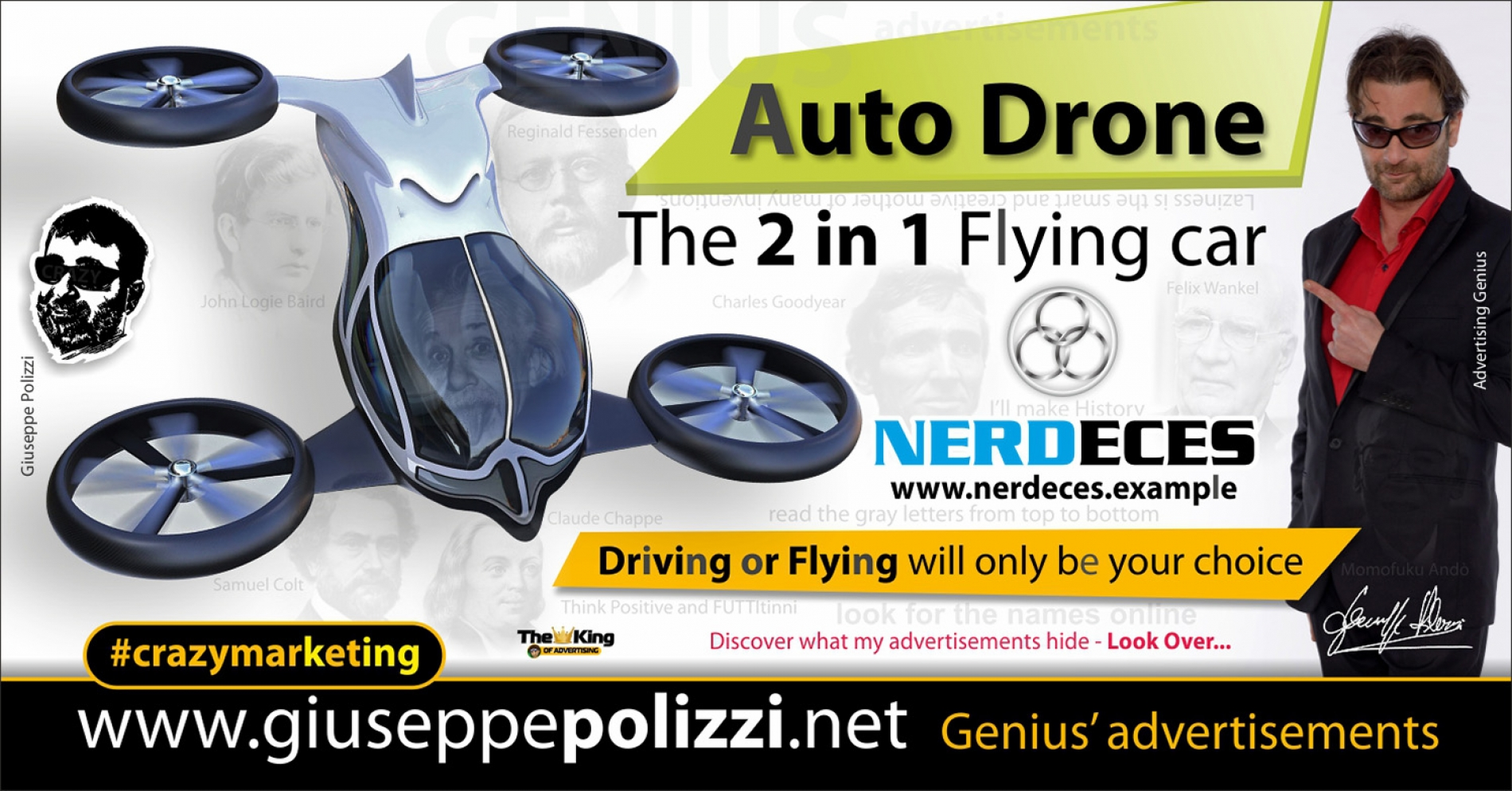 giuseppe polizzi crazymarketing Auto Drone 2 in 1  genius advertisements 2019